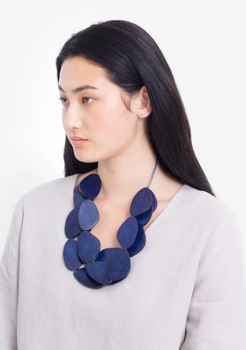 Navy Kamile Sculptural Necklace