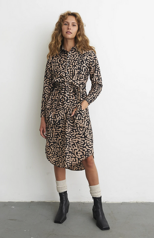 Causa Maze Shirt Dress with Front Waist Pockets