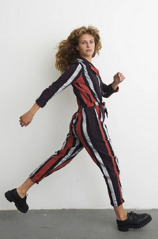Fuga Long Sleeve Jumpsuit in Sidewalk Chalk