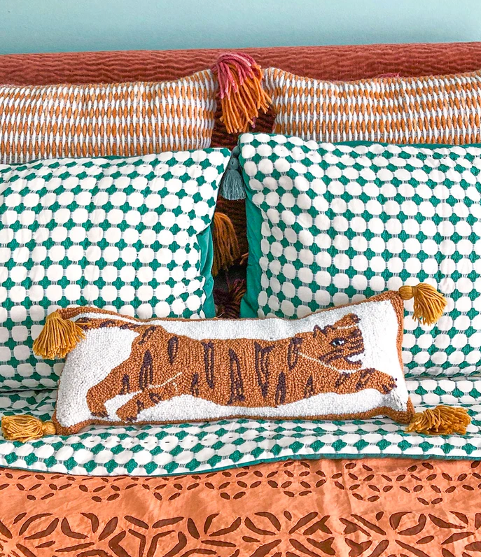 Tiger Hooked Wool Pillow with Tassels