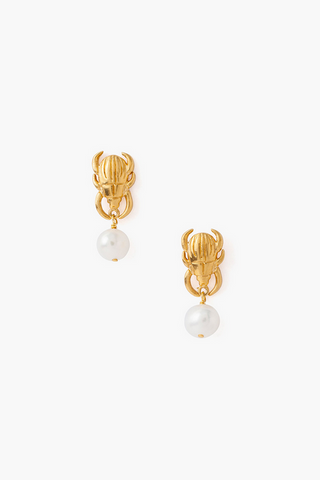 Tiered Beetle and Freshwater Pearl Earrings