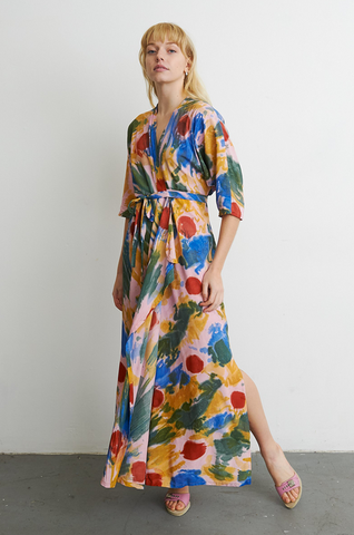 Hand-Dyed Letsa Wrap Dress in Elaine