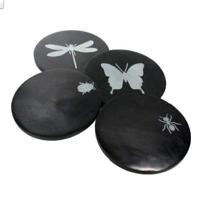 Soapstone Coasters - Insects - Set of 4 - Black