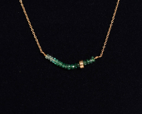 10KT Gold Necklace with Green Sapphire Stones