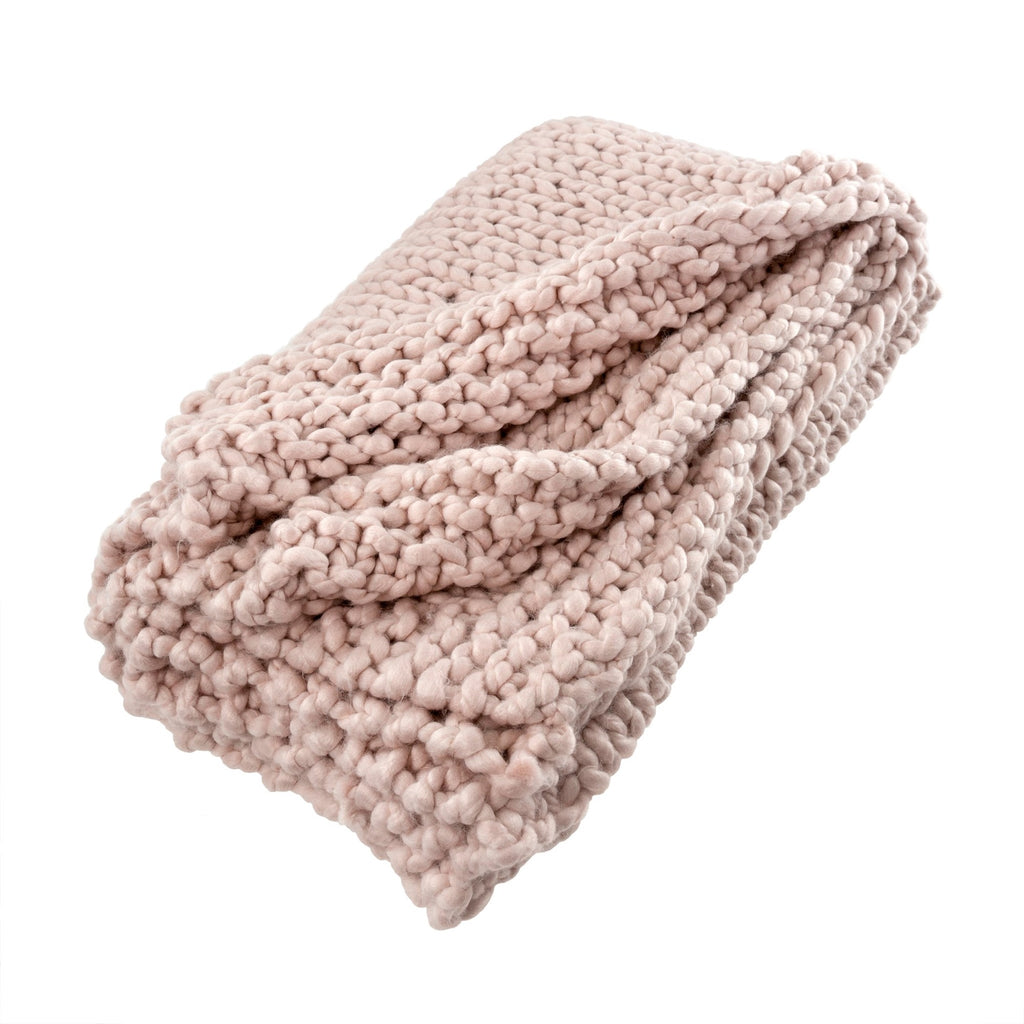 Chunky Woven Throw, Rose