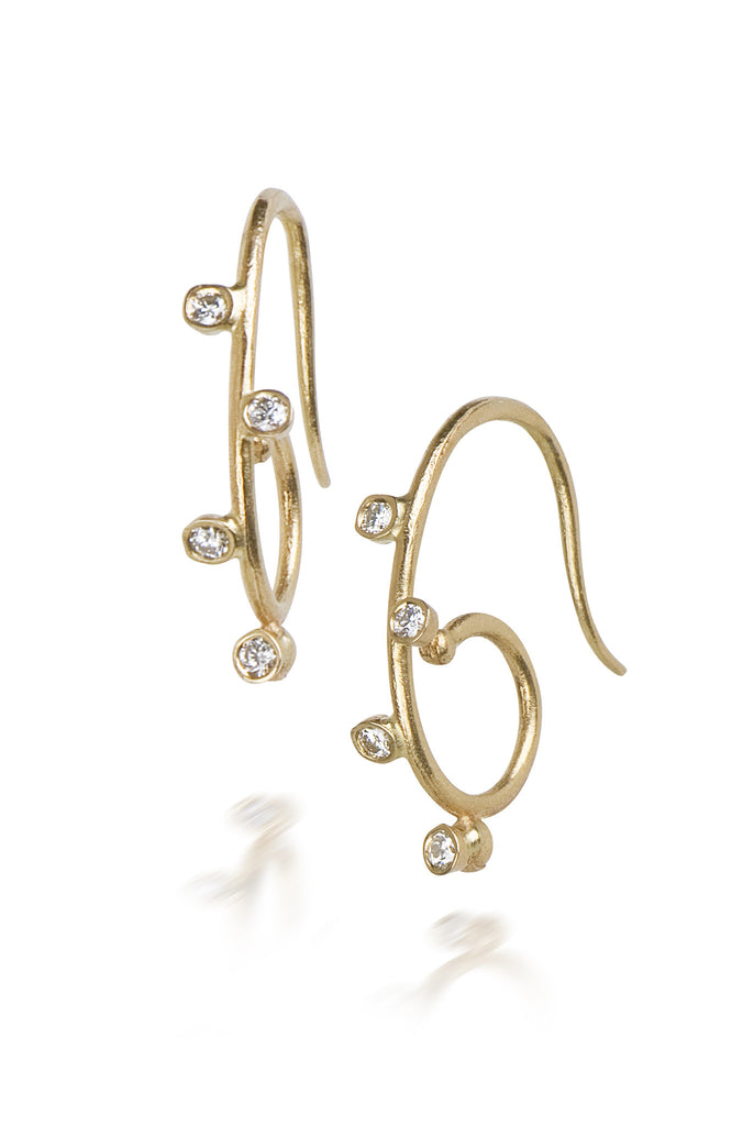 S hoop diamond earrings