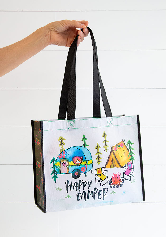 Recycled Water Bottles Reusable Gift Bag Happy Camper
