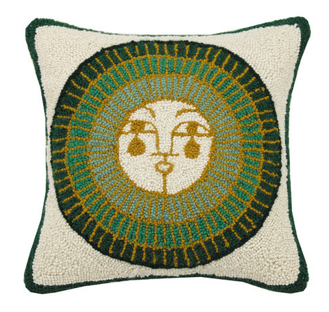 Colorful Sun Hooked Wool Pillow
