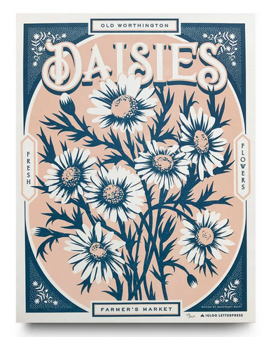 Daisies Farmers Market Letterpress Poster