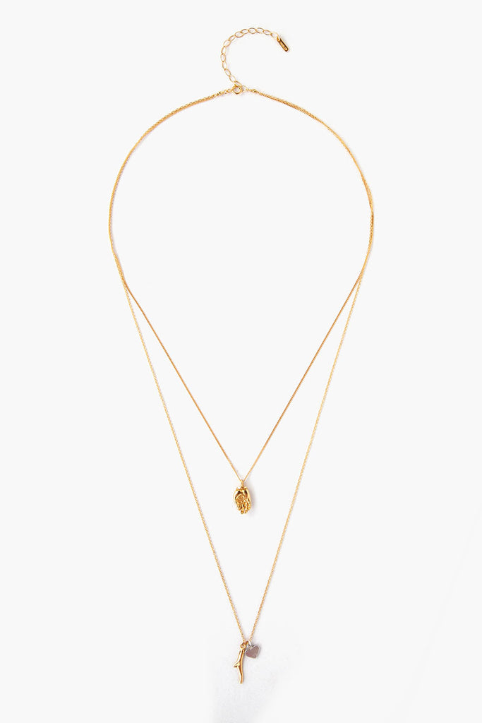 Double Layer Gold Charm Necklace