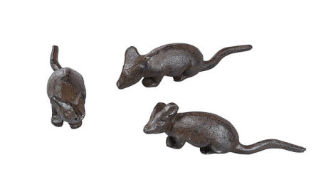 "5""L Cast Iron Mouse, 3 Styles"