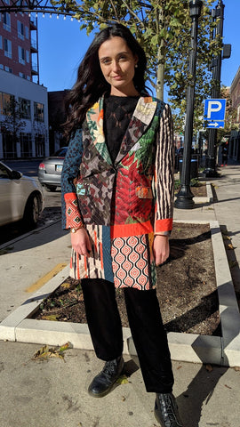 Nevara Quilted Eclectic Prints Jacket
