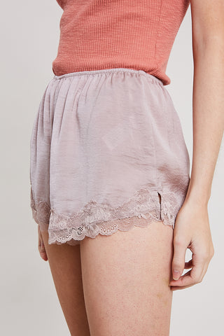 Lace Trimmed Satin Shorts