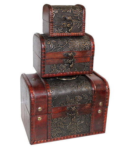 trio wooden treasure boxes