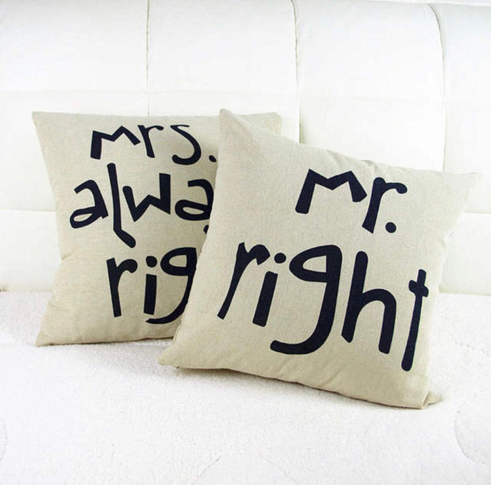 mr right cushion cover