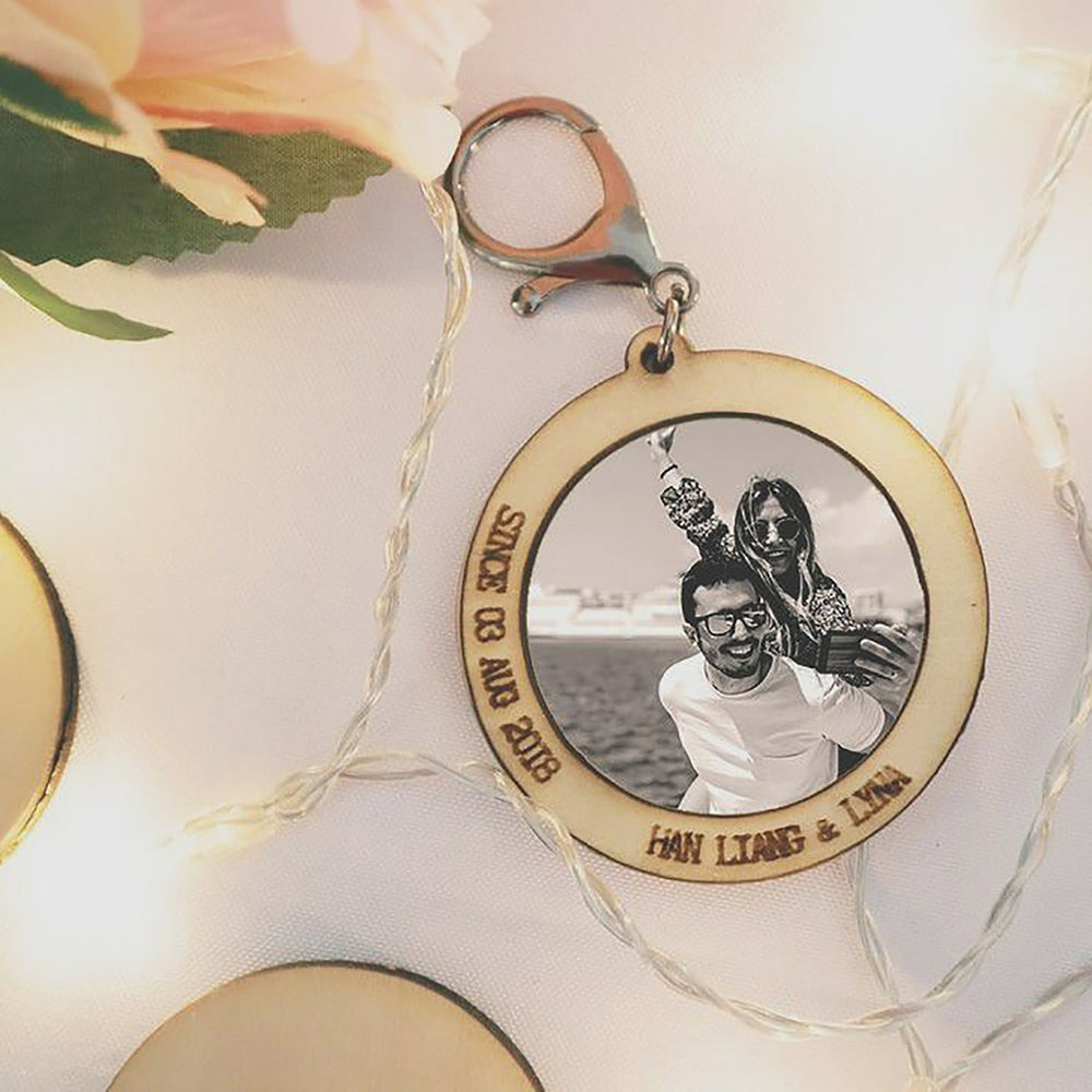 round photo keyring