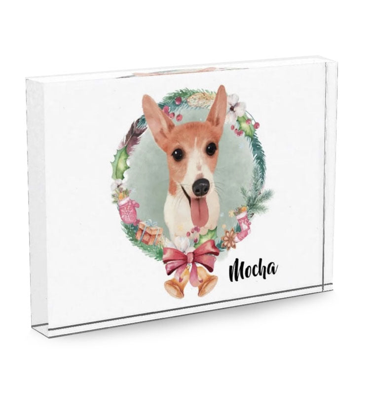 festive pet acrylic block