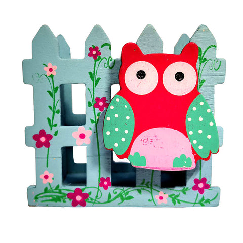 owl stationery holder blue