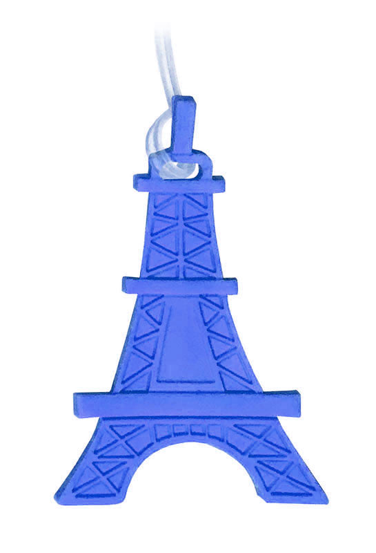 blue eiffel tower luggage tag