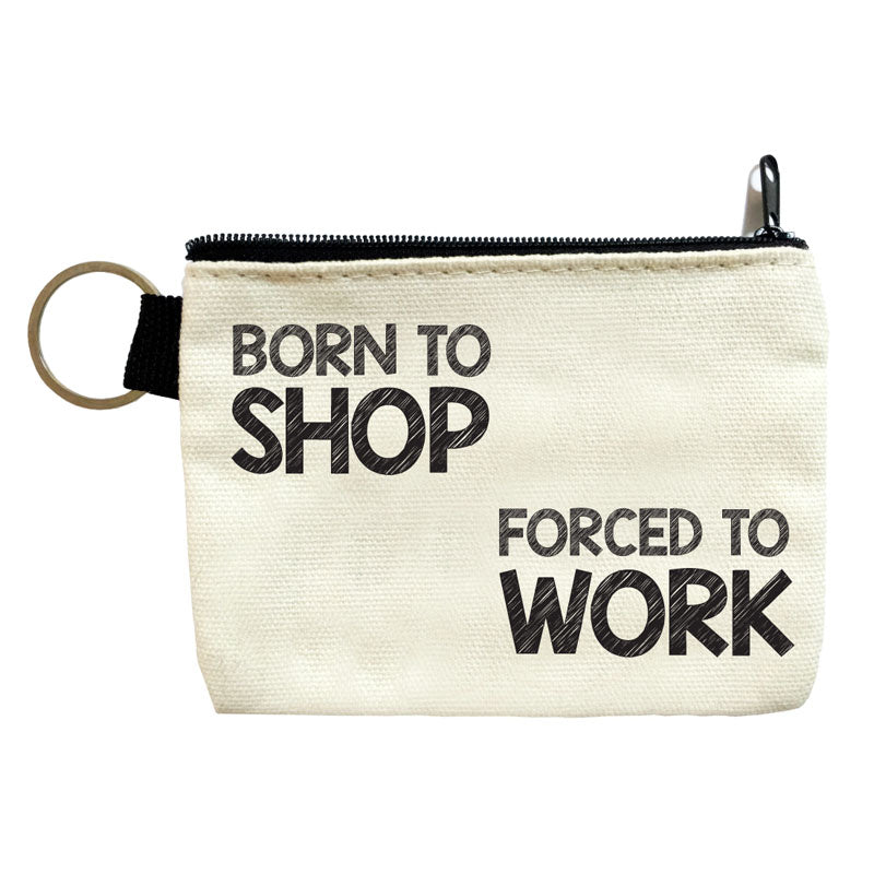 born to shop coin pouch