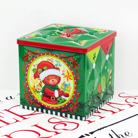 christmas bear cube gift tin