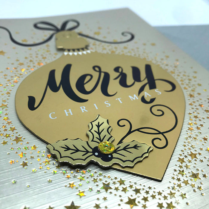 gold bauble card