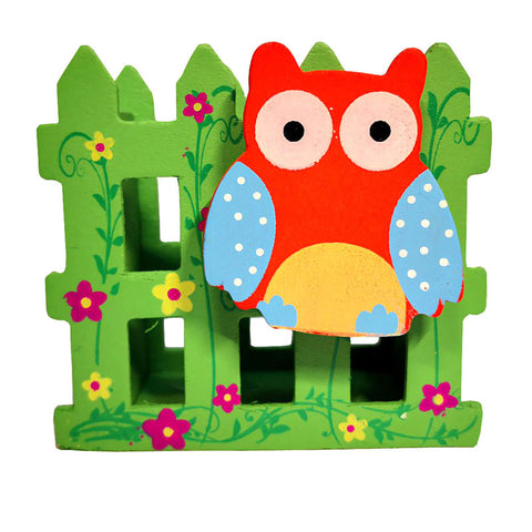 owl stationery holder green