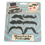 mustache cocktail picks