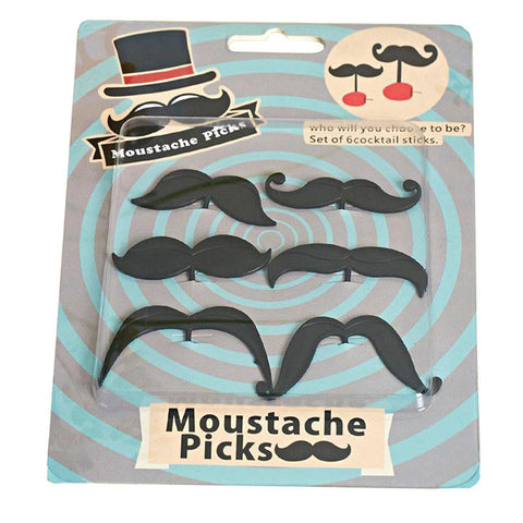 moustache cocktail picks