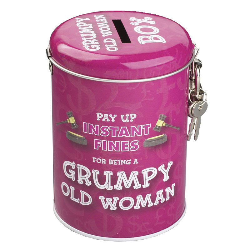 grumpy old woman fine savings tin