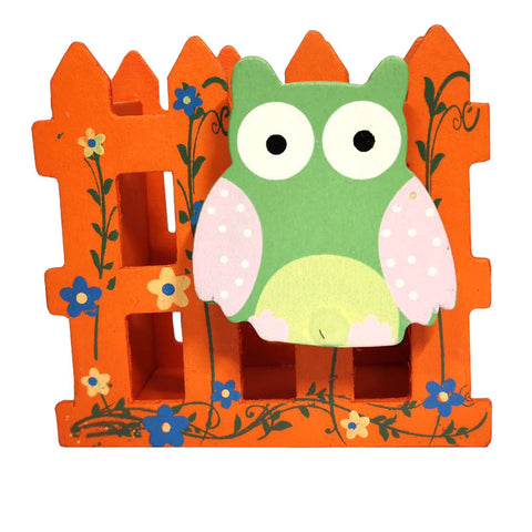 owl stationery holder orange