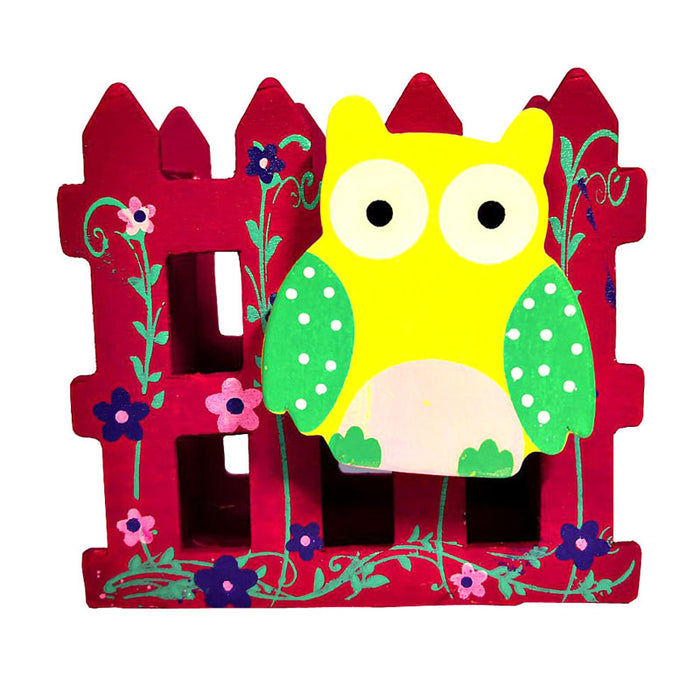 owl stationery holder purple
