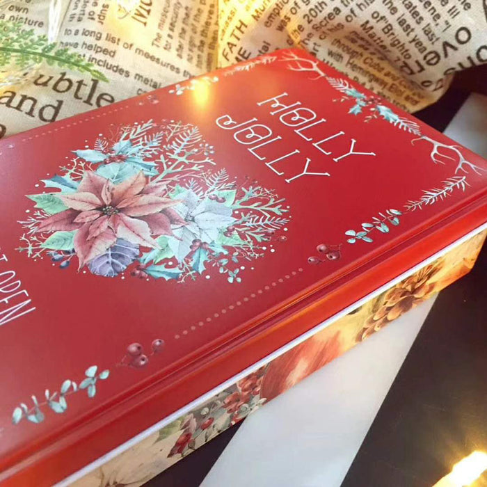 red holly jolly gift tin