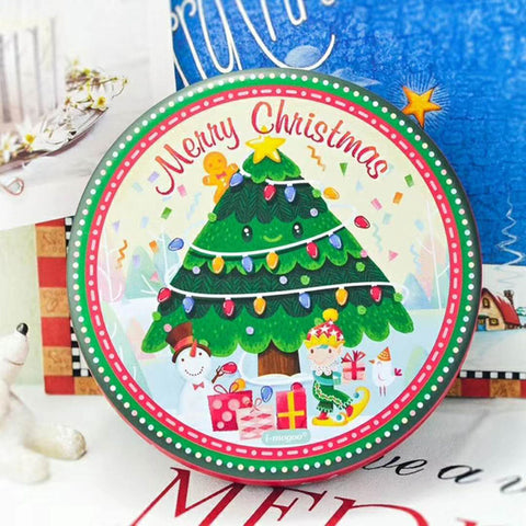 christmas tree round gift tin