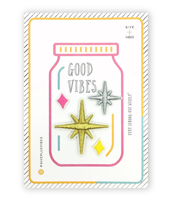 stars iron-on patch postcard