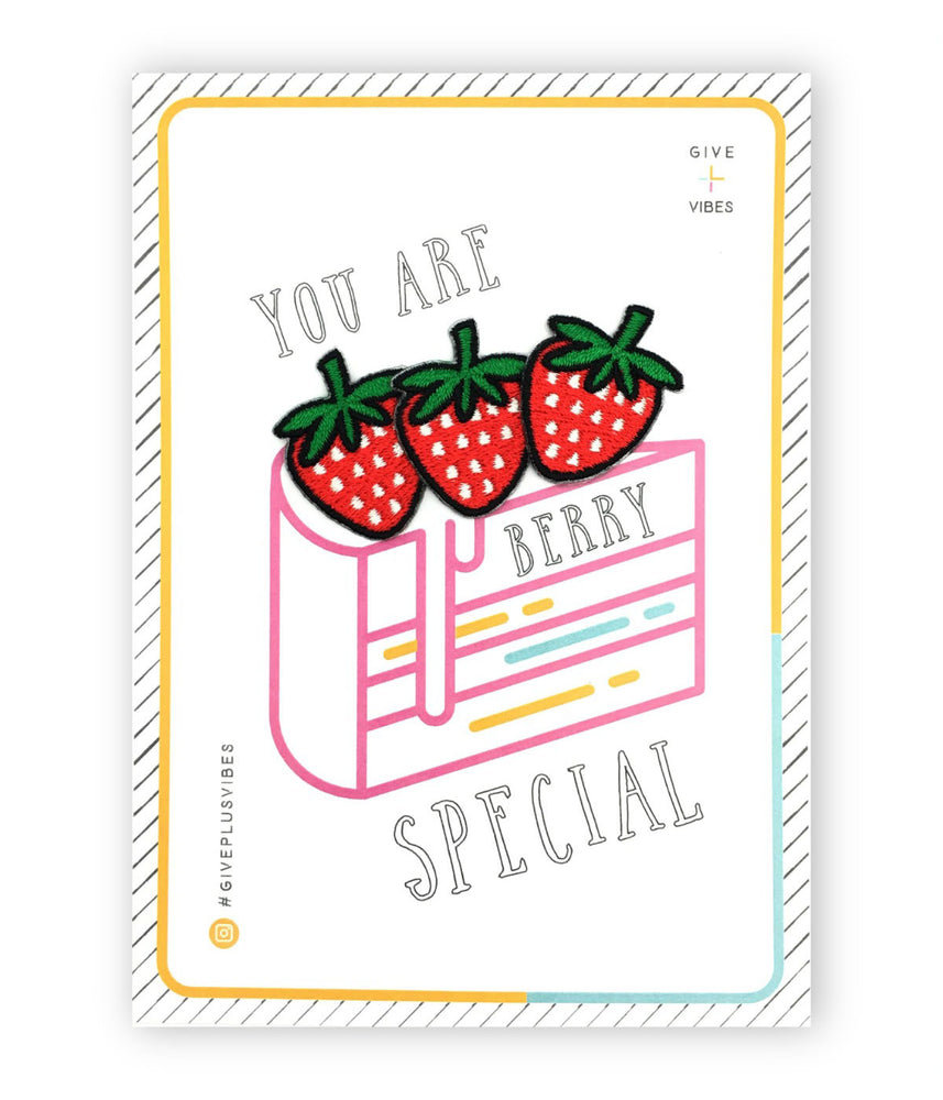 strawberry iron-on patch postcard