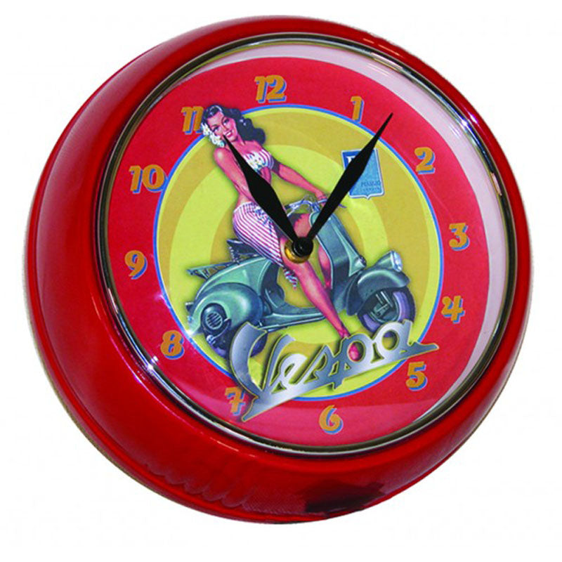 vespa red wall clock