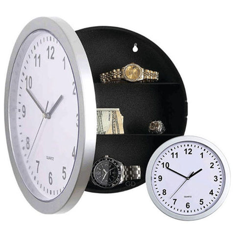 wall clock with hidden compartment