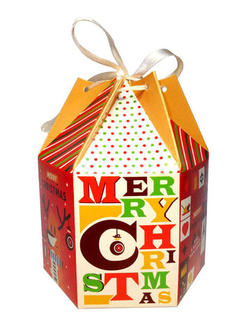 christmas typo hexagon gift box