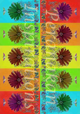 zinnia collage gift wrapper (10 sheets)