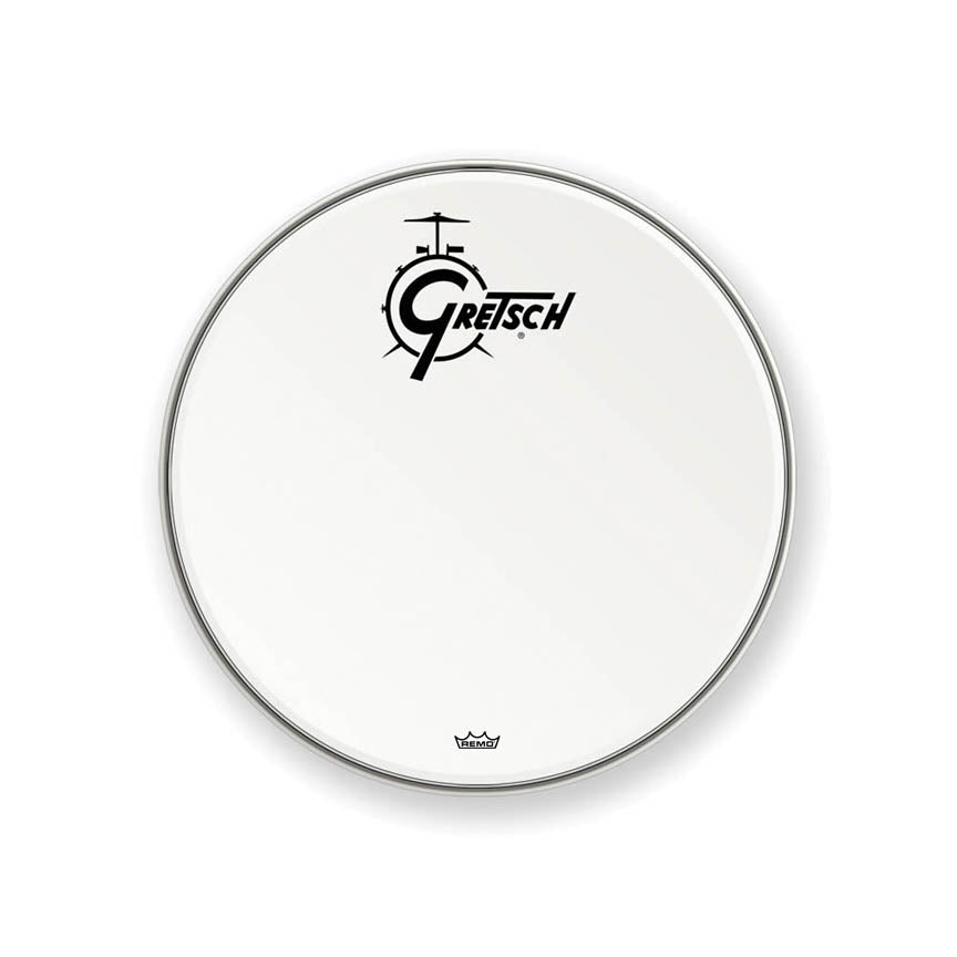 "Gretsch GRDHCW20 20"" Bass Resonant Drum Head with Coated Logo - White"
