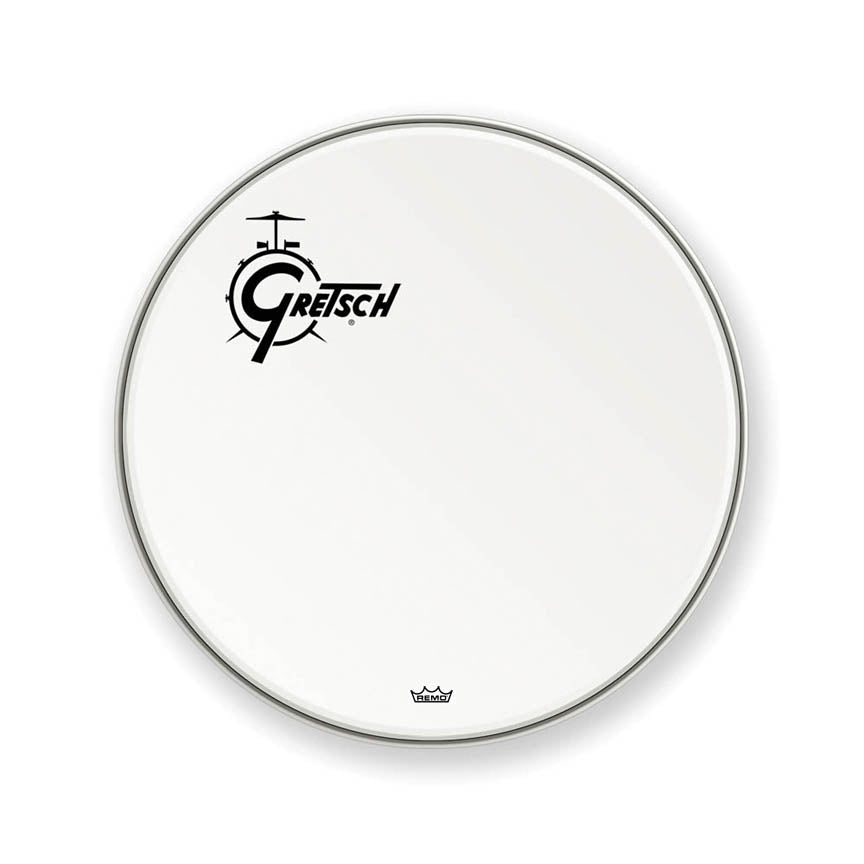 "Gretsch GRDHCW22O 22"" Bass Drum Head with Offset Logo - White"