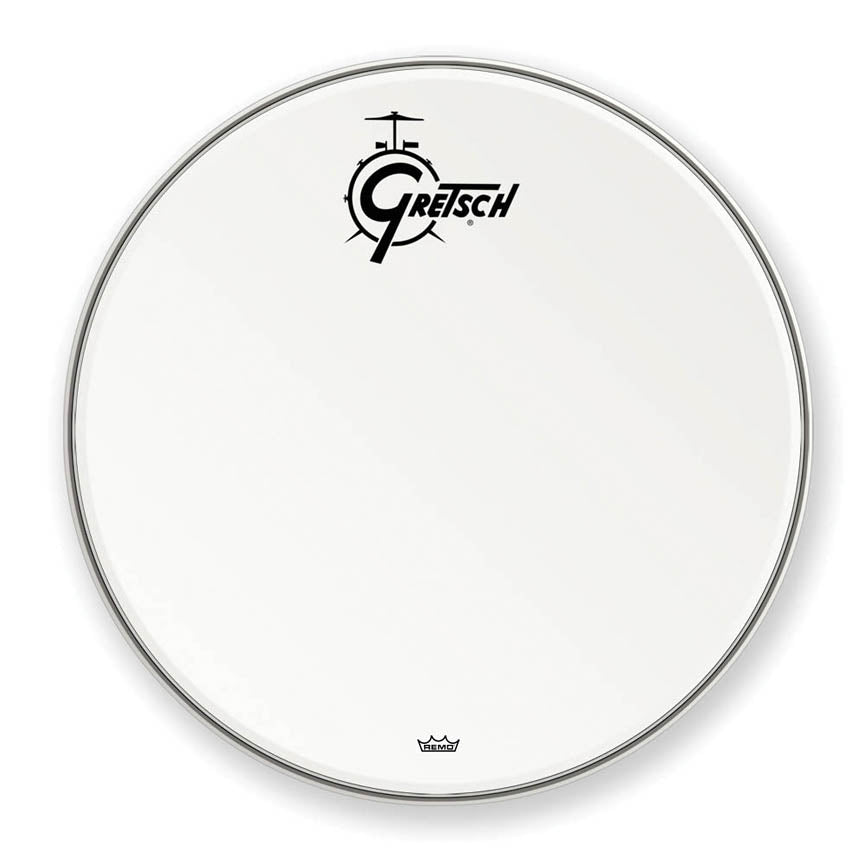 "Gretsch GRDHCW26 26"" Bass Resonant Drum Head with Coated Logo - White"