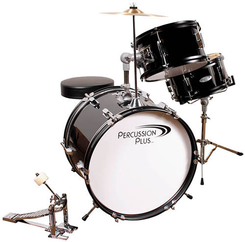 Percussion Plus PPJR3BK 3-Piece Junior Drum Set with Cymbal & Throne – Metallic Black