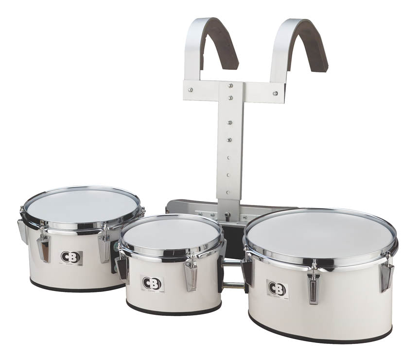 "CB Percussion 3712 Cb 8"" 10"" 12"" Marching Drum Trio with Carrier White"