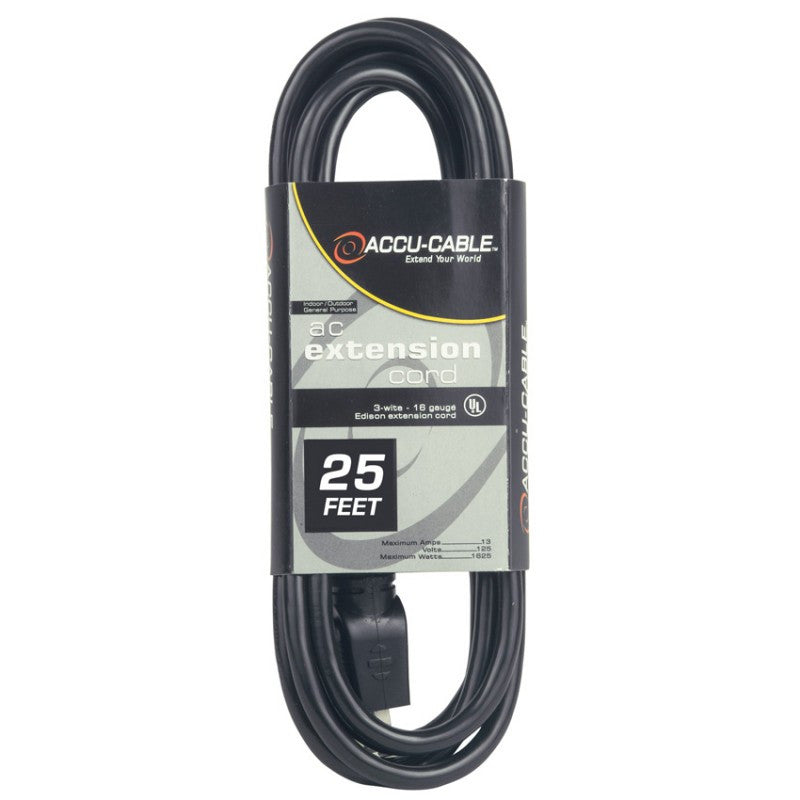 American DJ EC123-25 Black 12 Gauge, 25 foot AC Extension Cable - Audioride
