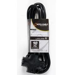 American DJ EC163-3FER10 10ft, 16 Gauge 3-Prong Edison Plugs AC Extension Cord - Audioride