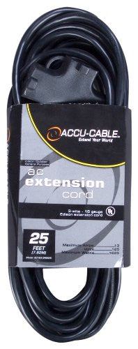 American DJ EC163-3FER25 25ft, 16 Gauge 3-Prong Edison Plugs AC Extension Cord - Audioride