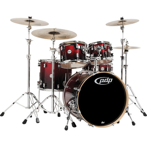 PDP Concept Maple Shell Pack - 5-piece (Red Fade to Black Finish)