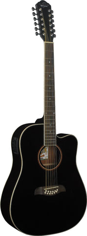 Oscar Schmidt OD312CEB 12-Strings Acoustic-Electric Guitar - Black